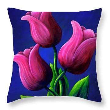 Floating Tulips Throw Pillow