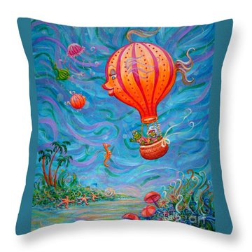 Floating Under The Sea Throw Pillow by Dee Davis