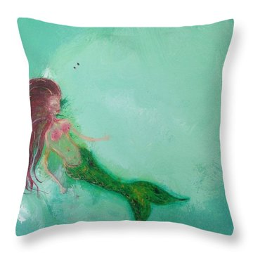Floaty Mermaid Throw Pillow by Roxy Rich