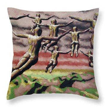Flock Throw Pillow by Leo Mazzeo