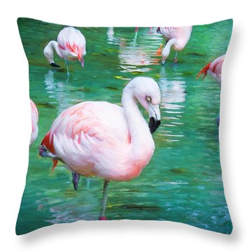 Flock Of Flamingos Throw Pillow