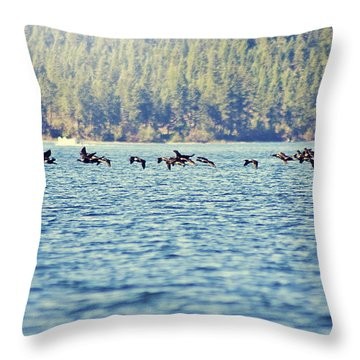 Flock Of Geese Throw Pillow by Janie Johnson