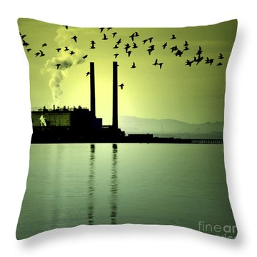 Throw Pillow featuring the photograph Flock Of Gulls by Craig B
