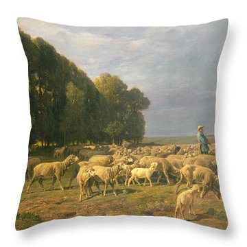 Flock Of Sheep In A Landscape Throw Pillow