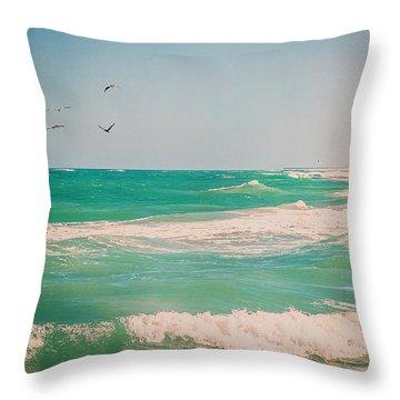 Flocking To The Beach Throw Pillow