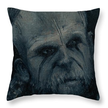 Throw Pillow featuring the painting Floki by Lynn Hughes
