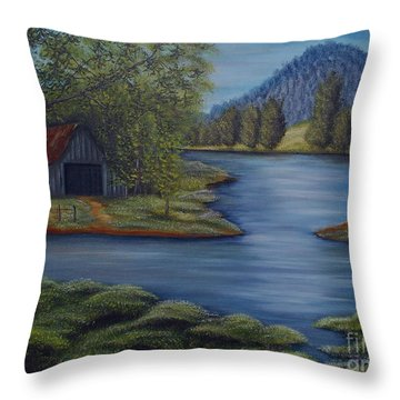 Flooded Farms Throw Pillow