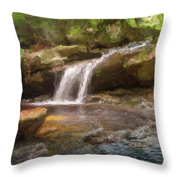 Flooded Waterfall In The Forest Throw Pillow