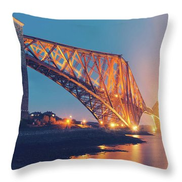 Floodlit Forth Bridge Throw Pillow by Ray Devlin