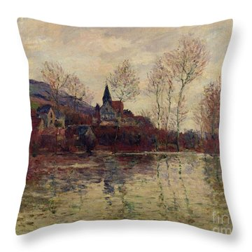 Floods At Giverny Throw Pillow by Claude Monet