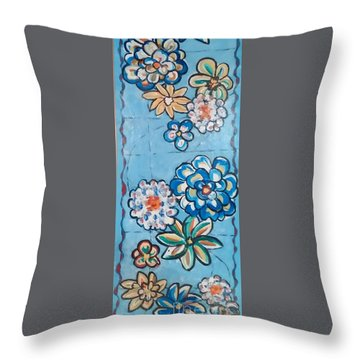 Floor Cloth Blue Flowers Throw Pillow by Judith Espinoza