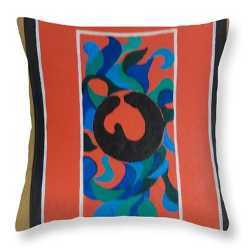 Floor Cloth E - Sold Throw Pillow