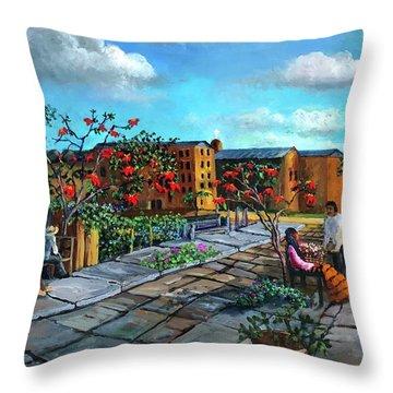 Flor De Noche Buena Throw Pillow