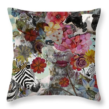 Throw Pillow featuring the digital art Flora And Fauna by Nola Lee Kelsey