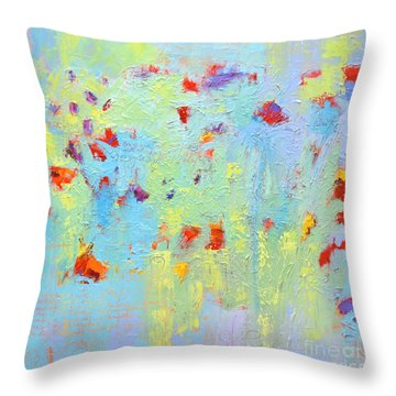 Throw Pillow featuring the painting Floral Abstract Coloful Painting by Patricia Awapara