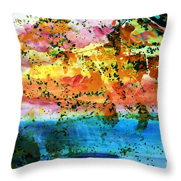 Throw Pillow featuring the painting Rustic Landscape Abstract  D2131716 by Mas Art Studio