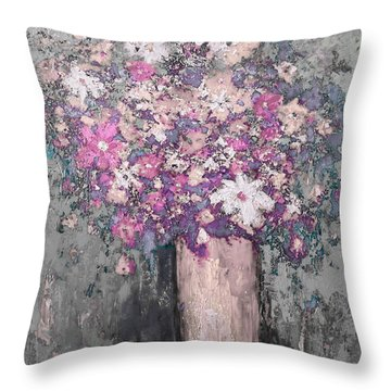 Floral Abstract - Reverse - Modern Impressionist Palette Knife Work Throw Pillow
