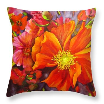 Throw Pillow featuring the painting Floral Abundance by Chris Hobel