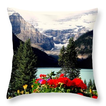 Floral And Ice Throw Pillow by Karen Wiles