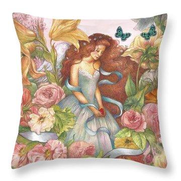 Floral Angel Glamorous Botanical Throw Pillow