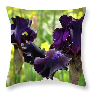 Floral Art Deep Purple Iris Flowers Irises Baslee Troutman Throw Pillow by Baslee Troutman