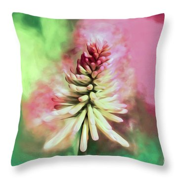 Throw Pillow featuring the photograph Floral Art - Red Hot Poker by Kerri Farley