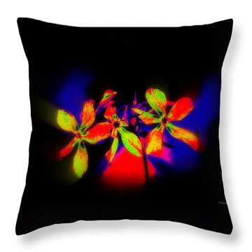 Floral Aurora Borealis   Throw Pillow
