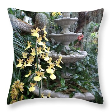 Floral Birdbath Throw Pillow