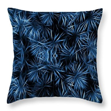 Floral Blue Abstract Throw Pillow by David Dehner