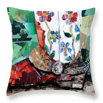 Floral Boot Throw Pillow by Suzy Pal Powell