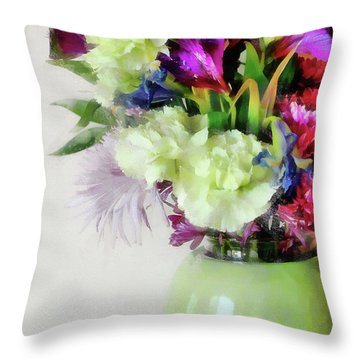 Floral Bouquet In Green Throw Pillow