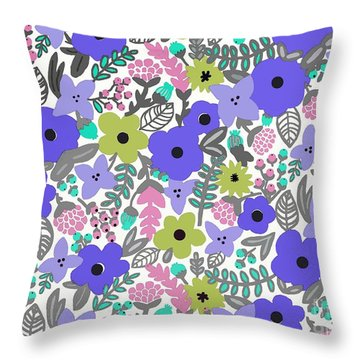 Floral Burst Of Blue Throw Pillow by Priscilla Wolfe