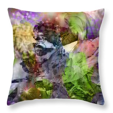 Floral Dream Of Oriental Beauty Throw Pillow