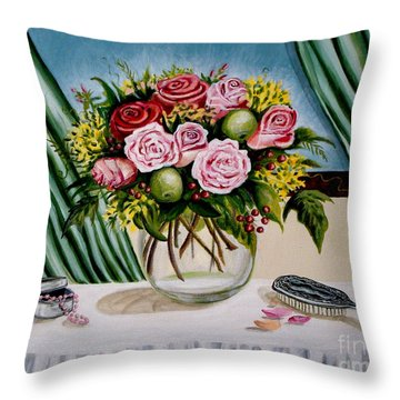 Floral Essence Throw Pillow by Elizabeth Robinette Tyndall