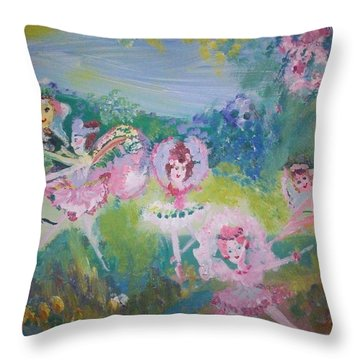 Floral Fairies Throw Pillow by Judith Desrosiers