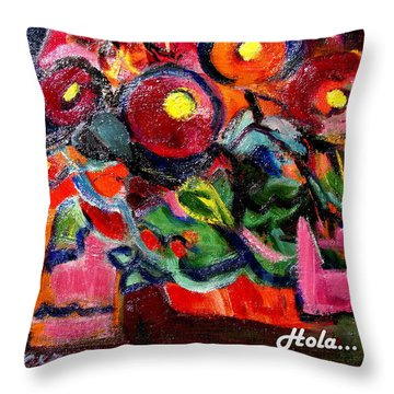 Floral Fiesta With Hola Throw Pillow by Betty Pieper