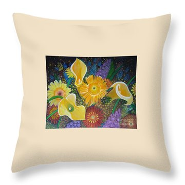 Floral Fireworks Throw Pillow