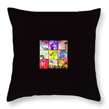 Floral Frenzy Throw Pillow by Alene Sirott-Cope