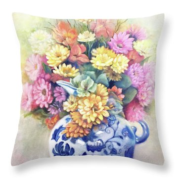 Throw Pillow featuring the painting Floral Fusion by Marlene Book