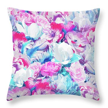 Floral Garden Peony And Magnolia Throw Pillow