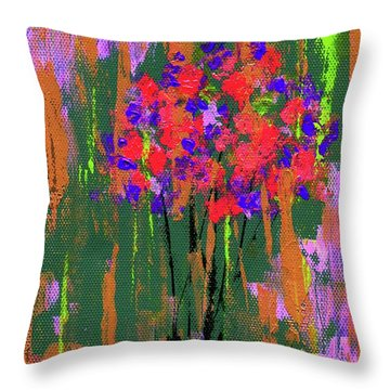 Throw Pillow featuring the painting Floral Impresions by P J Lewis