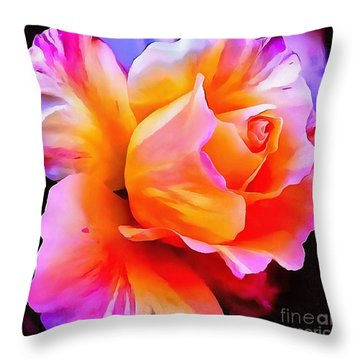 Floral Interior Design Thick Paint Throw Pillow