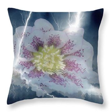 Floral Lightning Reflections Throw Pillow