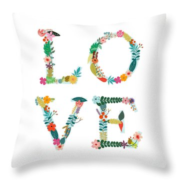 Floral Love Letters Throw Pillow