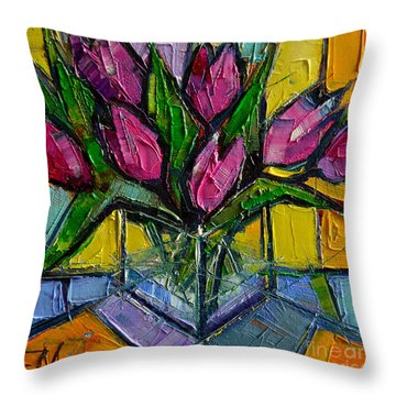 Floral Miniature - Abstract 0615 - Pink Tulips Throw Pillow by Mona Edulesco