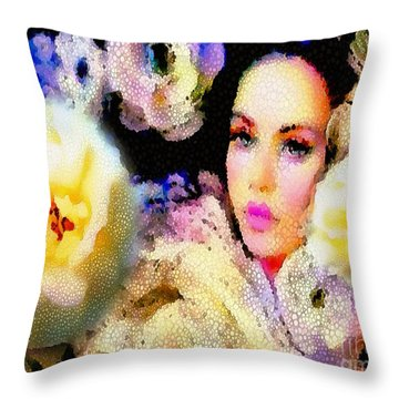 Floral Mosaic She In Thick Paint Throw Pillow