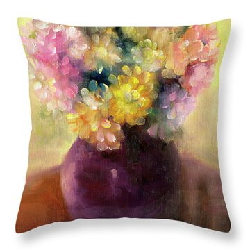 Throw Pillow featuring the painting Floral Oil Sketch by Marlene Book