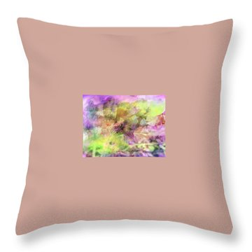 Floral Pastel Abstract Throw Pillow by Mikki Cucuzzo