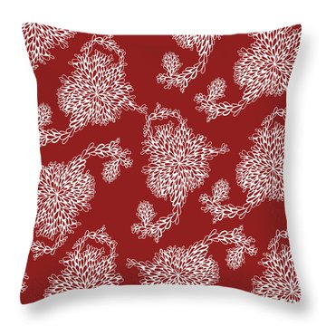 Floral Pattern In Red Throw Pillow