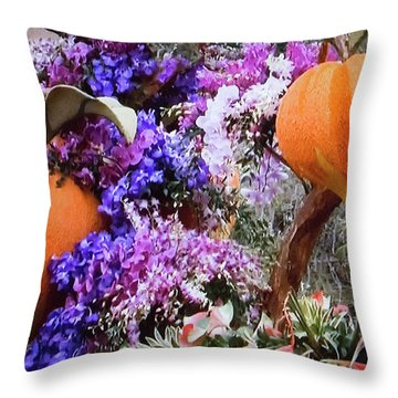 Throw Pillow featuring the photograph Floral Peaches by Linda Phelps